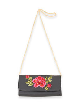 Embroidered Floral Crossbody Bag - 1124061596190