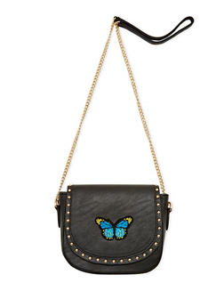 Studded and Embroidered Faux Leather Crossbody Bag - 1124061596200