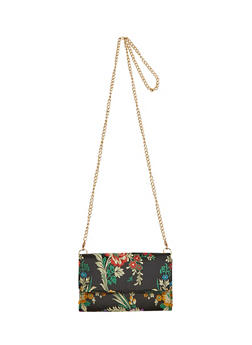 Satin Floral Embroidered Chain Strap Crossbody Bag - 1124061596365