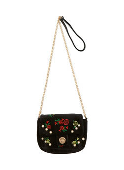Floral Embroidered Velvet Crossbody Bag - 1124061596385