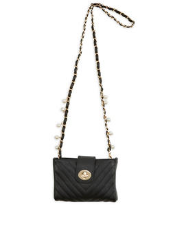 Quilted Faux Leather Crossbody Bag with Faux Pearl Strap Accent - 1124061596740