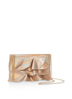 Metallic Ruffled Crossbody Bag - 1124061596750