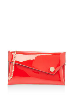 Faux Patent Leather Asymmetrical Envelope Clutch - 1124061596830