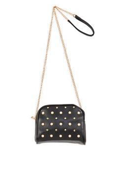 Faux Pearl Studded Double Zip Crossbody Bag - 1124061596891