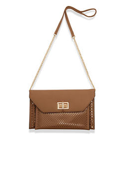 Foldover Laser Cut Crossbody Bag with Twist Lock - 1124061597400
