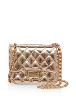 Quilted Metallic Crossbody Bag - 1124067440008