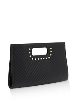 Faux Pearl Accented Oversized Clutch - 1124067440080