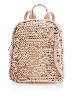 Velvet Sequin Backpack with Faux Leather Straps - 1124067440716