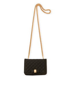 Quilted Metallic Crossbody Bag with Chain Strap - 1124067446008