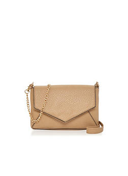 Faux Leather Envelope Bag with Detachable Crossbody Chain - 1124067446009