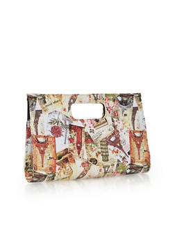 Oversized Graphic Clutch with Snap Closure - 1124067446013