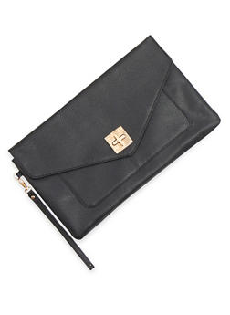 Large Envelope Clutch with Twist Lock - 1124067446016