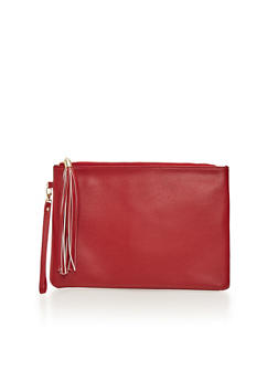 Faux Leather Clutch with Tassel - 1124067446022
