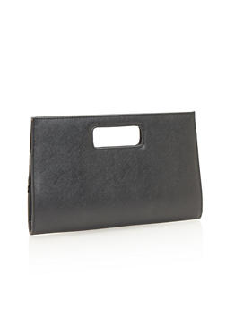 Leather Cutout Handle Clutch - 1124067446023