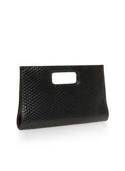 Large Cutout Handle Clutch with Textured Faux Leather - 1124067446025