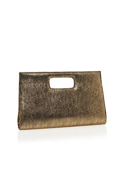 Large Metallic Shimmer Clutch with Cutout Handle - 1124067446026