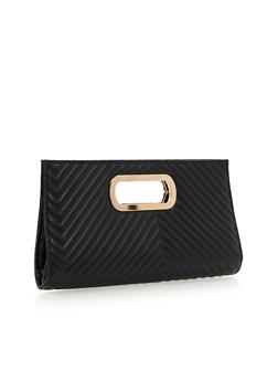 Metal Handle Faux Leather Clutch - 1124067446033