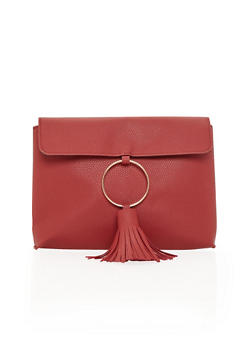 Faux Leather Clutch with Ring and Tassel Detail - 1124067446034