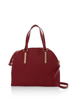 Large Quilted Double Zip Satchel Bag - 1124067446060