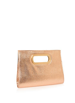 Embossed Faux Leather Metallic Handle Clutch - 1124067446107