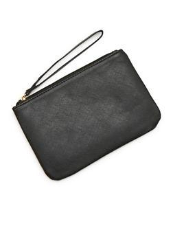 Solid Faux Leather Zip Wristlet - 1124067446173