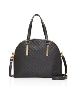Quilted Handbag with Metal Bar Accents - 1124067446600