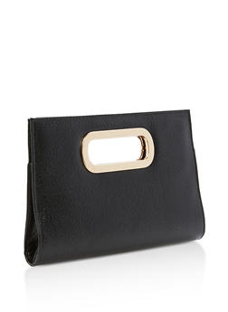 Faux Textured Leather Clutch with Metallic Handle - 1124067447001