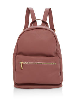 Textured Faux Leather Backpack - 1124067447002