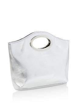 Faux Leather Clutch with Oval Handle - 1124067447003