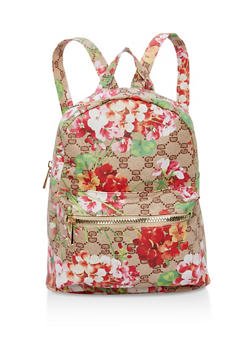 Small Double Zip Backpack - TAN FLORAL - 1124067447004