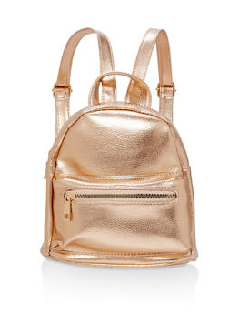 Mini Double Zip Faux Leather Backpack - 1124067447006
