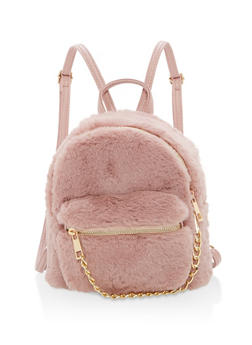 Faux Fur Mini Chain Backpack - 1124067447008
