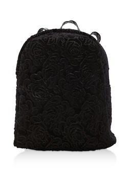 Embossed Rose Velvet Backpack - 1124067447012