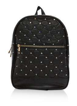 Quilted Stitched Sequin Backpack - 1124067447014