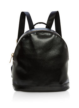 Faux Textured Leather Zip Backpack - 1124067447024