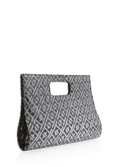 Embossed Faux Patent Leather Clutch - 1124067447031