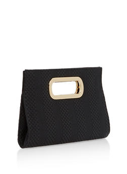 Faux Leather Woven Clutch - 1124067447032
