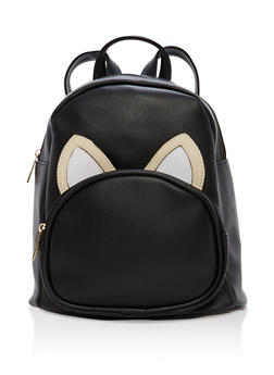 Faux Leather Animal Ear Backpack - BLACK - 1124067447108