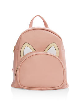 Faux Leather Animal Ear Backpack - BLUSH - 1124067447108