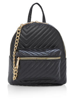 Quilted Chevron Chain Mini Backpack - 1124067448000