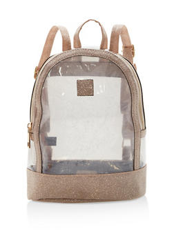 Glitter Trim Clear Mini Backpack - 1124067448007