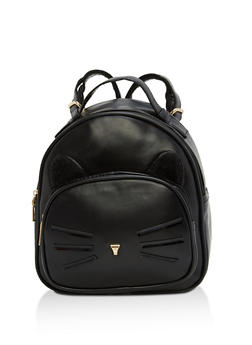 Faux Leather Cat Backpack - BLACK - 1124067448010