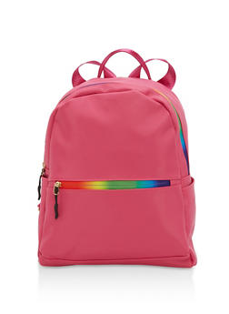 Rainbow Zipper Mini Backpack - FUCHSIA - 1124067448011