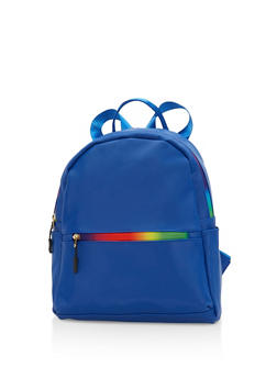 Rainbow Zipper Mini Backpack - BLUE - 1124067448011