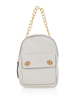 Textured Faux Leather Small Chain Strap Backpack - WHITE - 1124067448013