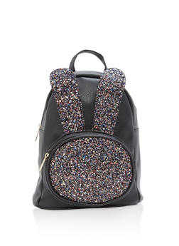 Glitter Bunny Ear Faux Leather Backpack - BLACK - 1124067448016