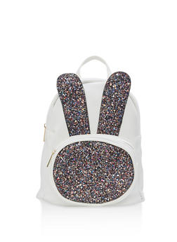 Glitter Bunny Ear Faux Leather Backpack - WHITE - 1124067448016