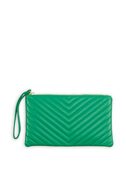 Chevron Quilted Faux Leather Clutch - 1124067448019