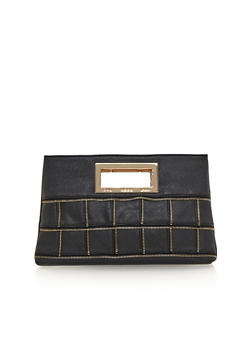 Cutout Handle Clutch with Zipper Accents - 1124070571100