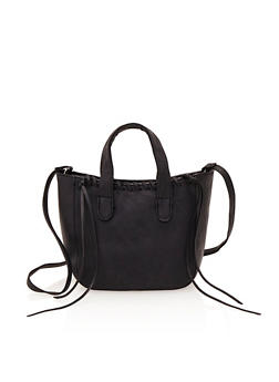 Small Satchel Bag with Stitched Trim - 1124070571800